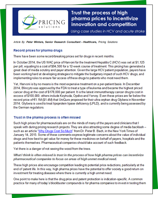 Download PDF: Trust the process of high pharma prices to incentivize innovation and competition